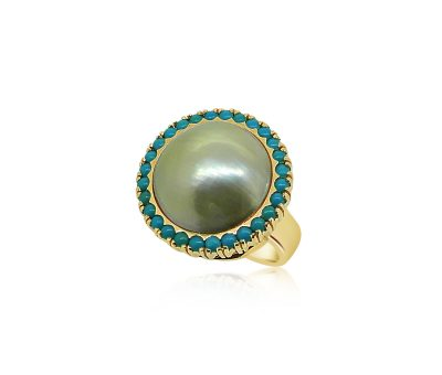 Pearl Turquoise Yellow Gold Ring